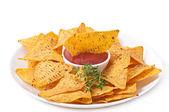 Nachos and tomato dip — Stock Photo