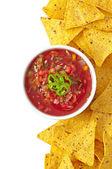 Nachos and fresh salsa dip — Stock Photo