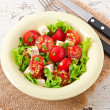 Tomato salad with lettuce, cheese and mustard and garlic dressing — Stock Photo #50812379