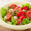 Tomato salad with lettuce, cheese and mustard and garlic dressing — Stock Photo #50812391