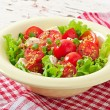 Tomato salad with lettuce, cheese and mustard and garlic dressing — Stock Photo #50812409