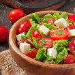 Tomato salad with lettuce, cheese and mustard and garlic dressing — Stock Photo #50812449