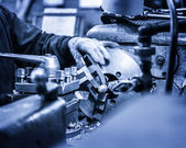 Turning lathe in the workshop in blue — Stock Photo