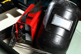 Welding unit with helmet shield — Foto de Stock
