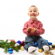 Child with fir branch and christmas decoration - ストック写真
