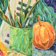 Still life in watercolor and pastel painting - Zdjęcie stockowe