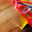 Stock Photo: Angle ruler, balance level and goggles