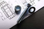 Drafting, and screw bolt with nut — Stok fotoğraf