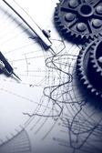 Mechanical ratchets, dividers and drafting — Stock Photo