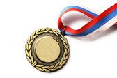 Médaille du métal avec ruban tricolore — Photo
