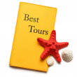 Seastar and seashells on best tours brochure — Stock Photo