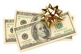 Dollar med dekorativ rosett på vit — Stockfoto
