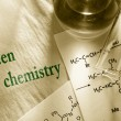 Green chemistry with reaction formula — Stock Photo