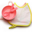 Bibs, bowl and spoon for baby - Stockfoto