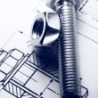 Stock Photo: Drafting, screw bolt with nut