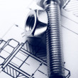 Drafting, screw bolt with nut - Stock Photo