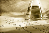 Chemistry with reaction formula in toning — Stock Photo