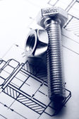 Drafting, screw bolt with nut — Stock Photo