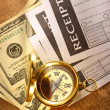 Stockfoto: Blank receipt, money and compass