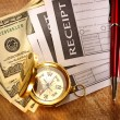 Stock Photo: Blank receipt, money, compass and pen