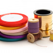 Stock Photo: Thread bobbins and reels of ribbon