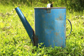 Old watering can on grass — Stockfoto