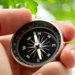 Hand holding silver black compass — Stock Photo #29296591