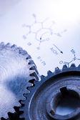 Chemia formuły z koła zębate mechaniczne — Zdjęcie stockowe