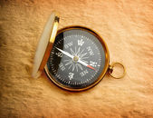 Single golden compass on paper background — Stock Photo