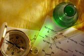 Green chemistry with formula and compass — Stok fotoğraf