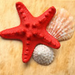 Stock Photo: Seastar and seashells on stained paper