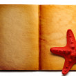 Stock Photo: Open book and red seastar