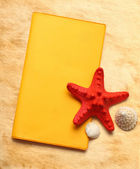 Seastar and seashells with notebook on stained paper — Stock Photo