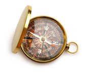 Compass with wooden surface inside — Stock Photo