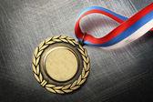 Médaille vierge sur fond de friture en acier — Photo