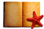 Open book and red seastar — Stock Photo