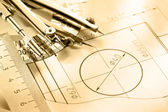 A piece of draft with drafting instrument — Stock Photo
