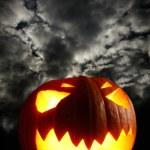 Angry halloween pumpkin — Stock Photo