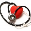 Stethoscope and red heart — Stok fotoğraf