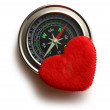 Compass and red heart — Stock Photo