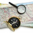 Road map plan and compass — Foto Stock