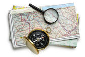 Road map plan and compass — Stock Photo