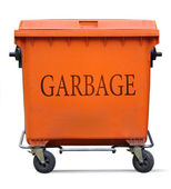 Orange garbage bin — Stock Photo