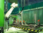 Working welding robot — Stock Photo