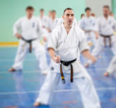 Lektion i karate school — Stockfoto
