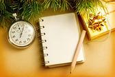 Weihnachten hintergrund mit notizblock — Stockfoto