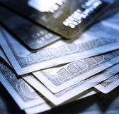 Credit cards and dollars — Stock Photo