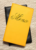Yellow menu book — Stock Photo