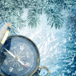 Stock Photo: Compass on snow