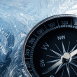 Compass on ice — Stock Photo